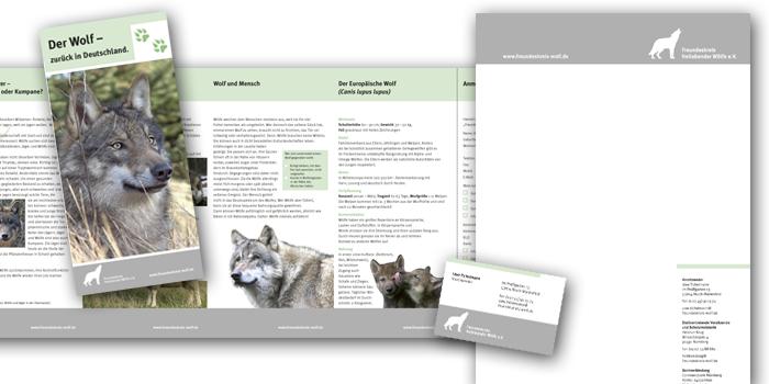 Freundeskreis freilebender Wölfe | Geschäftspapiere, Flyer und Ausstellung