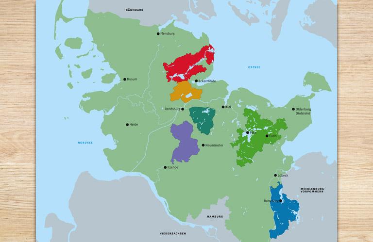 Erstellen einer Karte mit den einzelnen Naturparkgebieten.