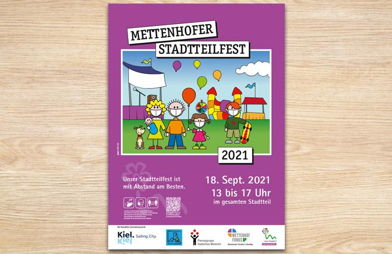 Plakat zum Stadtteilfest mit QR-Code für den digitalen Programmflyer